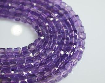 AAAA+ Quatity Pink Amethyst Box Beads, Pink Amethyst Cubes ,  Pink Amethyst faceted cubes, 6 - 6.5 mm Beads , 6 Inch Strand