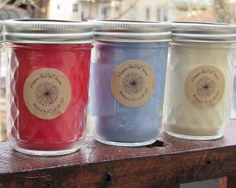 Custom Made to Order 8 oz Mason Jar 100% All Natural Soy Wax Candle!  You Pick Your COLOR & SCENT! Proudly Made in the U.S.A