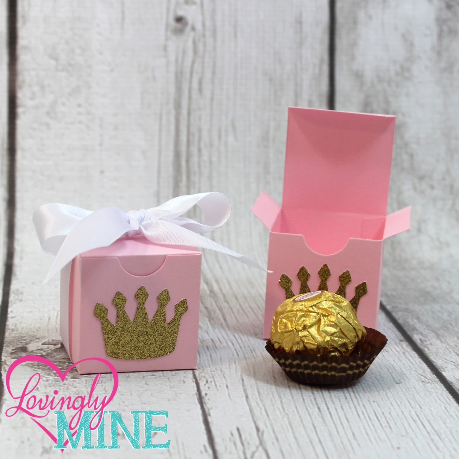 Small Favor Boxes in Baby Pink Glitter Gold & White Princess