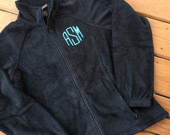 Monogrammed Fleece Jacket – Full Zip Fleece- Monogram Jacket – Personalized – Monogrammed Jacket - Black - Monogram fleece
