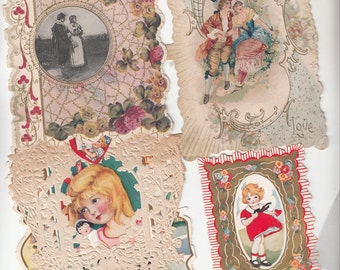 1910-1920 Four Valentines 2 Fancy Couples/Floral-Girl W Lacy Overlay/Small  Girl/Boy Heart Published By Whitney