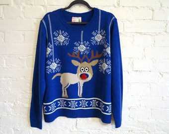 Blue Knitted Ugly Christmas Sweater Rudolph the Red Nosed Reindeer Blue Winter Cardigan Stockings Cosby Jumper Festival Jumper XL Size