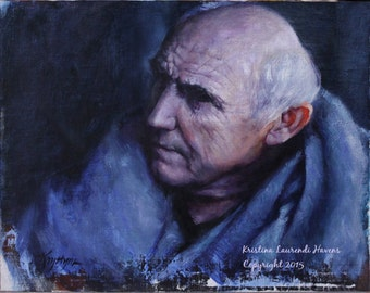 Game of Thrones Fan Art Maester Luwin  Original Oil Painting by Kristina Laurendi Havens