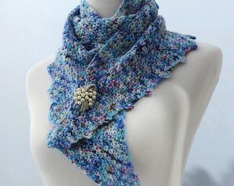 Hand crochet blue neon scarf