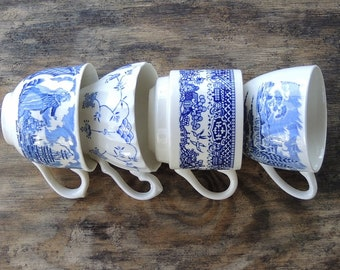 Blue and White Mismatched Tea Cups Set of 4 Blue Transferware Rustic Cottage Chic Tea Party, Antique Wedding, Bridesmaid Gifts Soy Candles