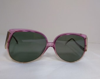 Vintage Oversized 1980s Polarguard Plastic Glitter Womens Pink Purple Sunglasses