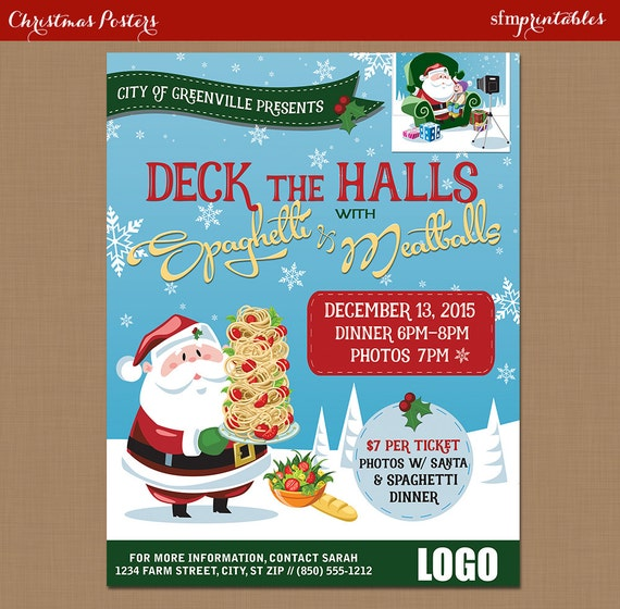 Spaghetti Dinner Flyer Poster Photos With Santa Fundraiser