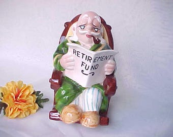 Vintage Lefton Retirement Fund Figural Ceramic Bank With Grandpa in Rocking Chair, Collectible 1960s Japan Coin Bank w/Original Sticker