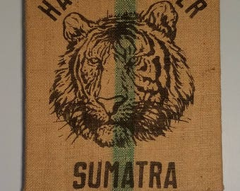 Tiger from Sumatra (Indonesia) Coffee Bag Wall Hanging
