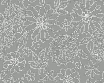 Fabric by the yard- Cotton quilting fabric- Art Gallery- Wire Flowers- grey- Nursery- grey fabric- florals-