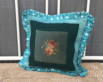 Vintage Handmade Needlepoint Pillow