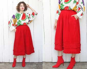 Vintage 80s Skirt | 80s High Waist Bis Bis Red Corduroy Full Skirt with Pockets Ruffle Trim | Small S 26""
