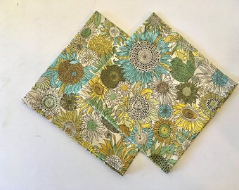 SHIPS IMMEDIATELY, pocket square, Liberty of London, wedding hankie,  hankie, custom pocket square, green, yellow, floral, sunflower