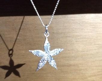 Fine Silver Flower Pendant PMC Silver Clay