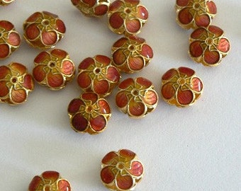 4 11x6mm Handmade Cloisonne Beads Gold Plated Small Cherry Blossom Sunset