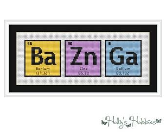 BAZINGA (BaZnGa) Big Bang Theory Periodic Table Chemical Element Cross Stitch Chart