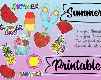 Printable Summer Planner Girl Chibi, Beach printable die cut, printable ephemera, journalling printable, Planner girl, ice cream, vellum