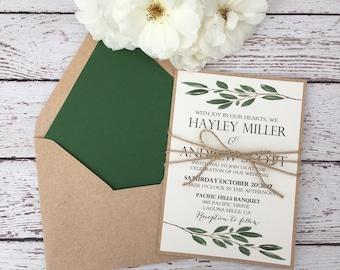 Greenery wedding invitation, rustic greenery invitation, botanic invitation, olive leaf rustic invitation, watercolor greenery invite