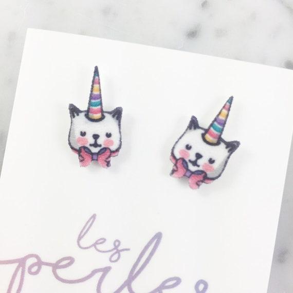 unicorn, cat, rainbow, white, stud, earring, shrink plastic,  stainless stud, nickel free, light, handmade, les perles rares