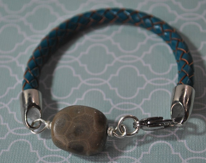 Petoskey Stone and teal leather bracelet, Up North Michigan bracelet, fossil bracelet