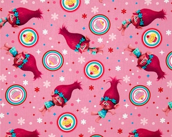 """New IN STOCK: Dreamworks Trolls Fabric - Poppy and cupcakes by Springs Creative 59740 100% cotton Fabric by the yard 36""""x44"""" (SC379)"""