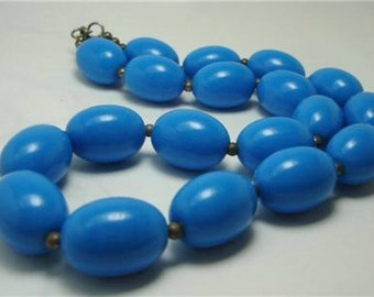 60s Blue oval Lucite beads choker necklace
