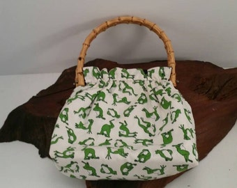 Vintage Frog Reversible Fabric Natural Bamboo Top Handle  Purse, Navy and Frog Print in Green And White Reversible Bamboo  Handled Handbag
