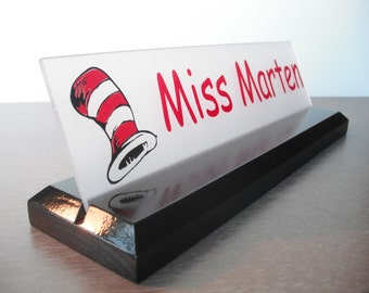 Teacher Name Plate: Dr. Seuss Personalized Wood Desk Sign 10 X 2.5