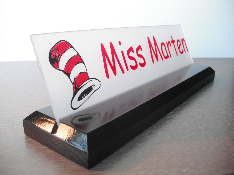Teacher Name Plate: Dr. Seuss Personalized Wood Desk Sign 10 X