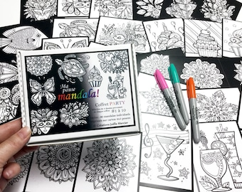 Coffret PARTY, Ma pause mandala, inclus 30 dessins de petit format à colorier au quotidien, mixte des coffrets 1 à 10