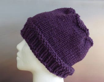 Quick Knitting PATTERN BEANIE Slouchy Hat Chunky Bulky Yarn Easy Knit Warm Winter Ski Hat - Instant Digital Download - Fast to knit