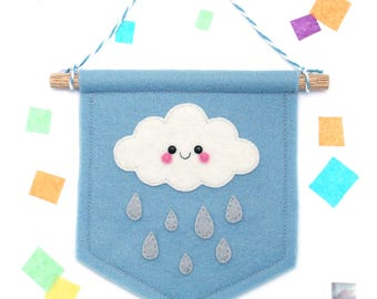 Cloud Felt Banner Nursery, Felt Flag, Weather Gift, Kawaii Present, Gift under 20