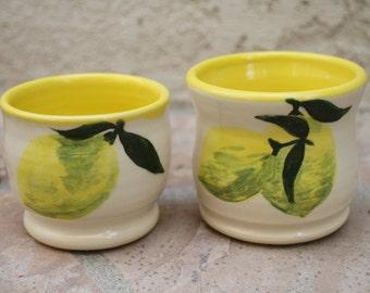 Limoncello Shot Glass set of 2 ceramic shot glass hand painted lemons shot glasses handmade pottery lemon cup liquor glass unique gift idea