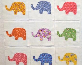 Elephants Appliqued Quilt Blocks