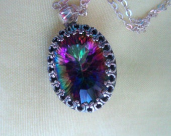 Pendant Mystic Rainbow Topaz DAZZLING 18x13mm with chain in sterling silver eco-friendly ethical -Made in USA by me:)  November Birthstone