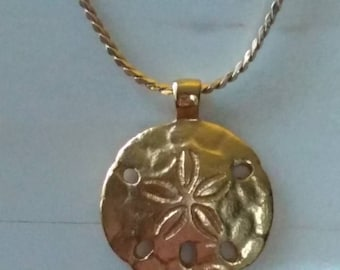 MONET / Necklace / Sand Dollar Gold Tone  /Long Chain