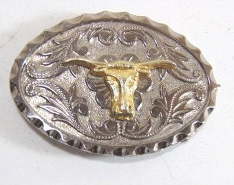 Vintage Collectible Texas Longhorn Steer Cowboy Belt Buckle