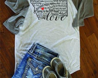 Montana love /Baseball Tee/T shirt/Montana/Montana Shirt/Montana/Montana Gift/Montana Clothing/Montana State/Montana T-shirts/Retro