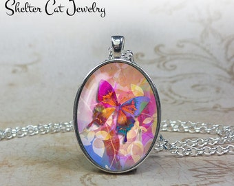 Butterfly Necklace - Blue, Pink and Orange - Oval Pendant or Key Ring - Handmade Wearable Photo Art Jewelry - Nature art - Gift for her