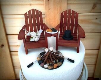 Rustic Smore Wedding Cake Toppers / Wedding Cake Topper Cabin Chairs / Smore Wedding/ Rustic Wedding / Camping Wedding