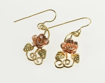 10K Two Tone 3D Rose Leaf Accent Dangle Hook Earrings Yellow Gold