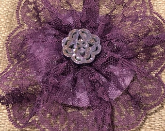 Dusty purple lace kippah