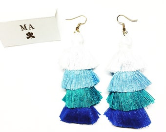 Blue long fringe earrings