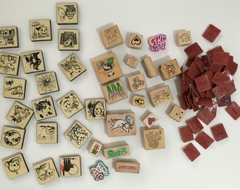 Creative stamps - Michae'ls Store Inkadikado wood and Rubber Stamps 85 pieces