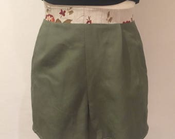 Green Linen Shorts with Floral Waistband