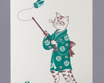Letterpress Toy Cicada Cat Greeting Card