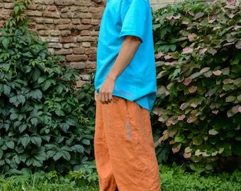 Orange Linen Pants for man woman, Unisex Orange Harem Pants, Yoga Pants, Loose linen trousers, Wide baggy linen pants, Meditation Pants