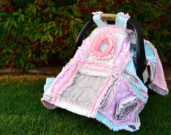 Baby Rag Quilt Car Seat Canopy - Gray / Mint / Pink Baby Girl Carseat Cover - Pink Carseat Canopy - Girl Car Seat Cover - Baby Carrier Cover