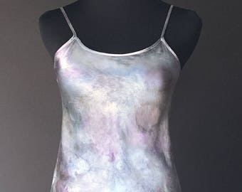 Silk Camisole Hand-dyed, Plant-dyed with Purple Sweet Potatoes and Blue Potatoes, Size Small, No synthetic dyes or heavy metal mordants used