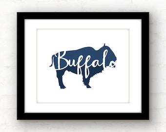 Buffalo print | buffalo art blue Buffalo, New York print | buffalo decor | Buffalo, NY | Buffalo home decor | hand lettered buffalo | NY art
